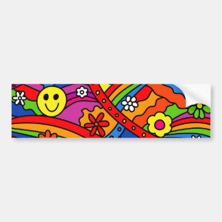 Smiley Face Rainbow and Flower Hippy Pattern Bumper Sticker
