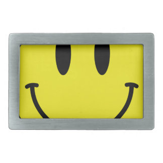 smiley face rectangular belt buckle