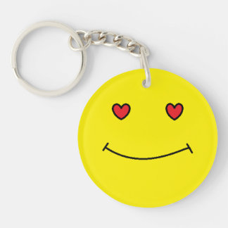 Smiley Face Single-Sided Round Acrylic Keychain