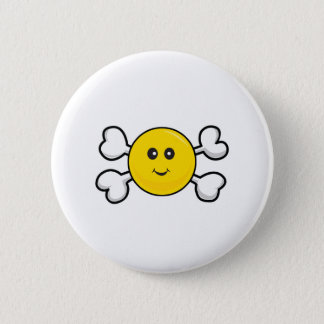smiley face Skull and Crossbones 2 Inch Round Button