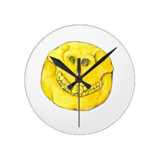 Smiley Face Skull Round Clock