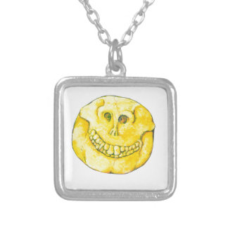 Smiley Face Skull Silver Plated Necklace