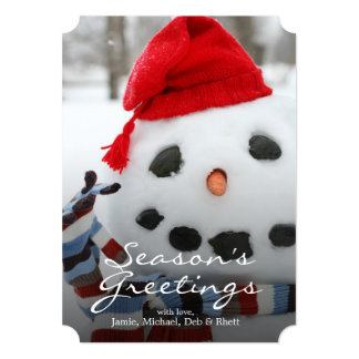 "Smiley face snowman 5"" x 7"" invitation card"