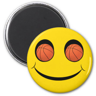 SMILEY FACE SPORTS BASKETBALL 2 INCH ROUND MAGNET