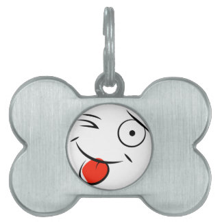 Smiley face sticking tongue out. Raspberry face Pet Tags
