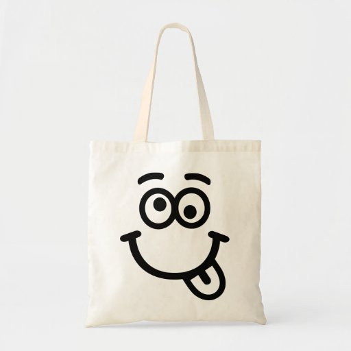 Smiley face wink canvas bags