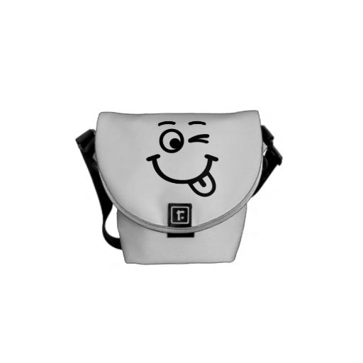 Smiley face wink messenger bags