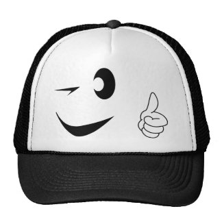 Smiley Face - Winking - Thumbs Up Trucker Hat