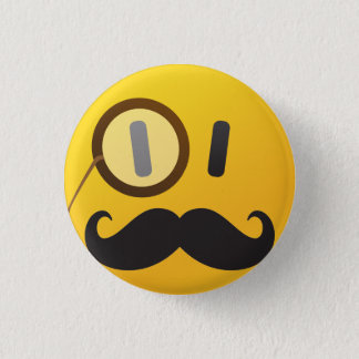 Smiley face with mustache 1 inch round button