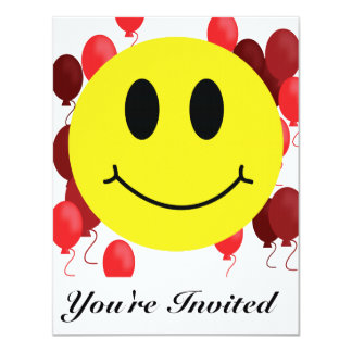 """Smiley Face with Red Balloons 4.25"""" X 5.5"""" Invitation Card"""