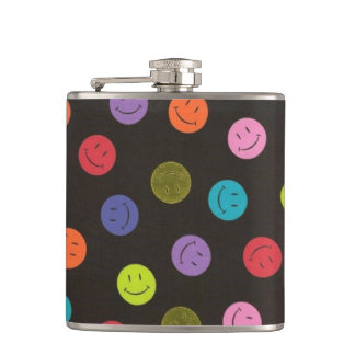 Smiley Faces - Multi-colored Hip Flask