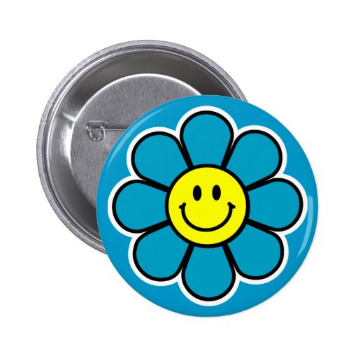 Smiley Flower Button (Blue)
