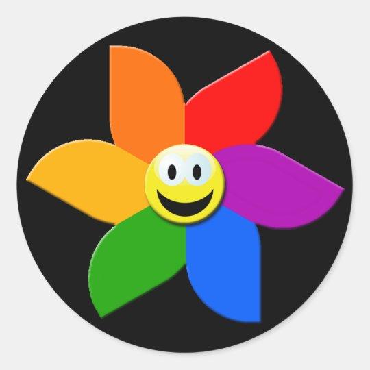 SMILEY FLOWER CLASSIC ROUND STICKER