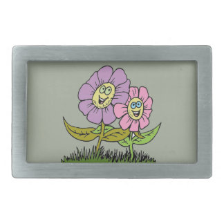Smiley Flowers Rectangular Belt Buckle