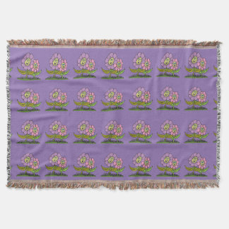 Smiley Flowers Throw Blanket