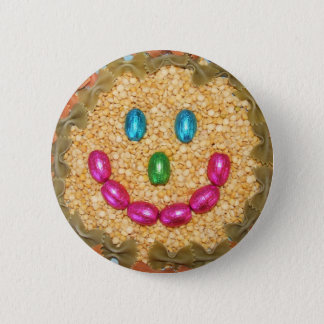 SMILEY FOOD FACE 2 INCH ROUND BUTTON