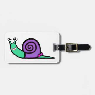 Smiley Girl Snail Luggage Tag