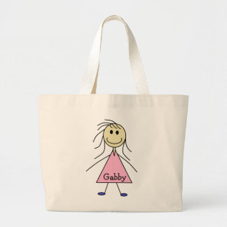 Smiley Girl Stick Figure Print Personalized Large Tote Bag