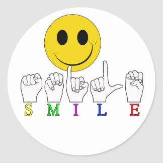 SMILEY HAPPY FACE ASL SIGN LANGUAGE CLASSIC ROUND STICKER