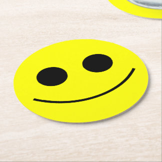Smiley Happy Face Round Paper Coaster