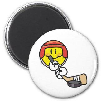 Smiley Hockey 2 Inch Round Magnet