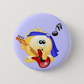 Smiley Music Guitar Player 2 Inch Round Button