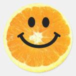 Smiley Orange Slice Round Sticker