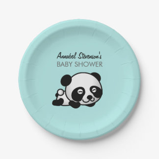 Smiley Panda Baby Boy Shower Paper Plate