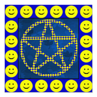"Smiley Pentacle 5.25"" Square Invitation Card"