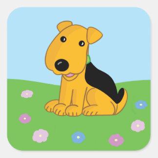 Smiley Puppy in Field Square Sticker