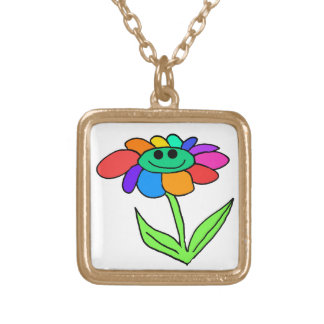 smiley rainbow flower gold plated necklace