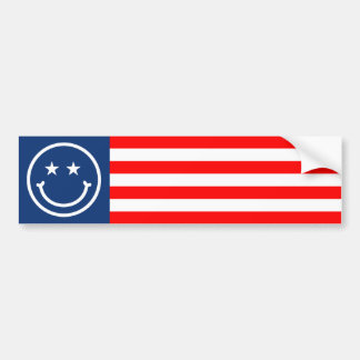 Smiley Red, White and Blue Bumper Sticker