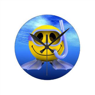 Smiley Scuba Diver Aqua Underwater Wall Clocks