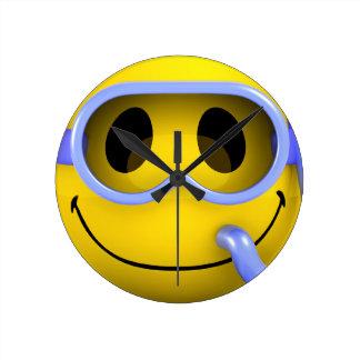 Smiley scuba diver wallclock
