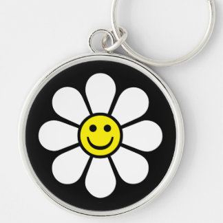 Smiley Silver-Colored Round Keychain