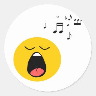 Smiley singer classic round sticker