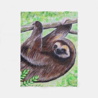 Smiley Sloth Painting Fleece Blanket