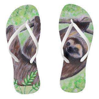 Smiley Sloth Painting Flip Flops