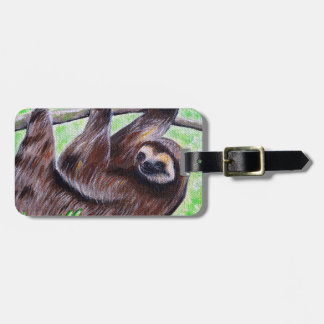Smiley Sloth Painting Luggage Tag