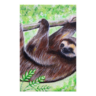 Smiley Sloth Painting Stationery