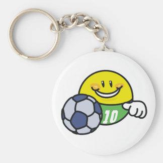 Smiley Soccer Basic Round Button Keychain