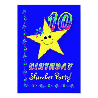 Smiley Star 10th Birthday Slumber Party Invitation