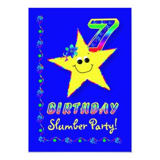 Smiley Star 7th Birthday Slumber Party Invitation