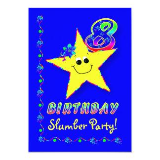 Smiley Star 8th Birthday Slumber Party Invitation
