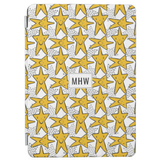 Smiley Stars Pattern custom monogram device covers iPad Air Cover