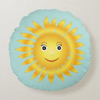 Smiley Sun Face Round Pillow