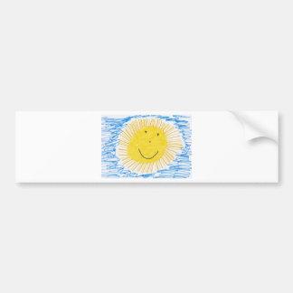 SMILEY SUN KIDS DRAWING BUMPER STICKER