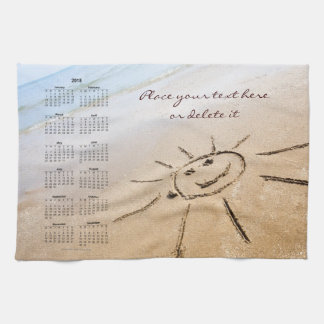 Smiley Sun On The Beach 2018 Kitchen Towel