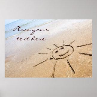 Smiley Sun On The Beach Poster