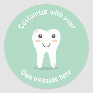 Smiley Tooth Classic Round Sticker
